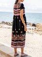 V Neck Black Swing Holiday Tribal Midi Dress