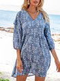 V Neck Blue A-Line Boho Mini Dress