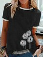 Vintage Short Sleeve Statement Floral Printed Crew Neck Plus Size Casual Tops