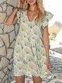 Green Short Sleeve V Neck Swing Floral Mini Dresses