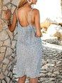 Blue Floral Boho Square Neck Swing Mini Dresses