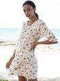 Blue Half Sleeve Floral-Print Shift Floral Mini Dresses