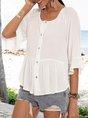 White Crew Neck Plain Frill Sleeve Shirts & Tops