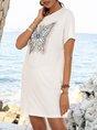 White Animal Crew Neck Holiday Paneled Dresses