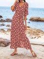 Sundress V Neck Bell Sleeve Beach Maxi Dress
