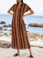 Orange Stripes Boho Dresses