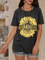 Small Daisies Gray Crew Neck Simple Basic Top
