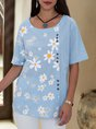 Sky Blue  Buttoned Floral Casual Shift Top