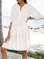 White A-Line V Neck Half Sleeve Dresses