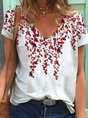 Casual Short Sleeve Cotton-Blend Floral-Print Top