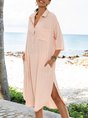 Pink Shift Shawl Collar Casual Paneled Dresses