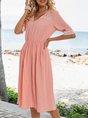 Pink Casual Solid A-Line V Neck Dresses