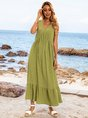 Lightgreen Sleeveless Swing V Neck Cotton-Blend Maxi Dresses