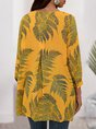 Yellow  Casual Tropical Shift Top