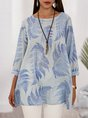 Light Blue Printed  3/4 Sleeve Tropical Blouse