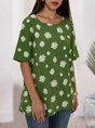 Green Floral Short Sleeve Printed  Top