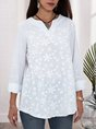 White Long Sleeve Shift Casual Embroidered Blouse
