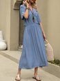 Solid V Neck Daily Linen Maxi Dress