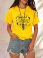Yellow Floral Crew Neck Causal Shift Top