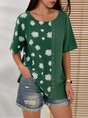 Green Casual Linen Printed Shift Shirts & Tops