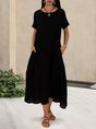 Solid Pockets Short Sleeve Simple Midi Dress