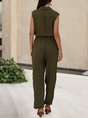 Green Pockets Solid Casual V Neck One-Pieces With Belt Jumpsuit