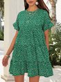 Green Short Sleeve Floral Mini  Dress