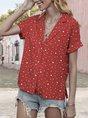 Red Causal Printed Polka Dots Shirt Collar Blouse
