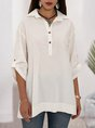 White Buttoned Linen Casual 3/4 Sleeve Blouse