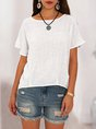 White Short Sleeve Crew Neck Solid  Top