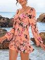 Floral Square Neck Mermaid Boho Mini Dress