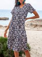 V Neck Purplish Blue Beach Floral Midi Dress