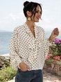White-Black Shirt Collar Casual Polka Dots Shift Blouse