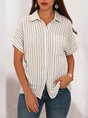 White Stripes Shirt Collar Casual Basic Blouse