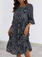 Purplish Blue Printed Shift Half Sleeve Holiday Mini Dress