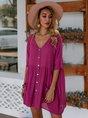 V Neck Daytime Solid Mini Dress