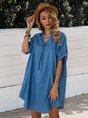 Shirt Collar Short Sleeve Casual Mini Dress