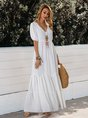 Sundress White Swing Beach Solid Maxi Dress