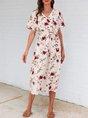 White V Neck Short Sleeve Floral Midi Dress