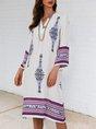 White Floral-Print Shift V Neck Boho Position Midi Dress