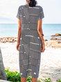 V Neck Shift Daytime Boho Geometric Midi Dress