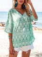 Blue Holiday Floral-Print Cotton-Blend Shirts & Top