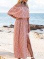 Pink Swing Off Shoulder Boho Maxi Dress
