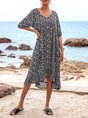 V Neck Black A-Line Beach Floral-Print Midi Dress