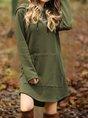 Solid Long Sleeve Hoodie Casual Dress