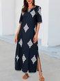 Purplish Blue V Neck Tribal Printed Half Sleeve Maxi Dress