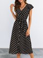 Classic Black Printed Polka Dots Short Sleeve  With Belt Midi Dress