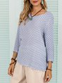 Blue Tribal Crew Neck Shift Casual Basic Top