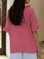 Pink Short Sleeve Guipure Lace Causal Blouse