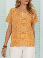 Yellow Shift Buttoned Crew Neck Short Sleeve Top